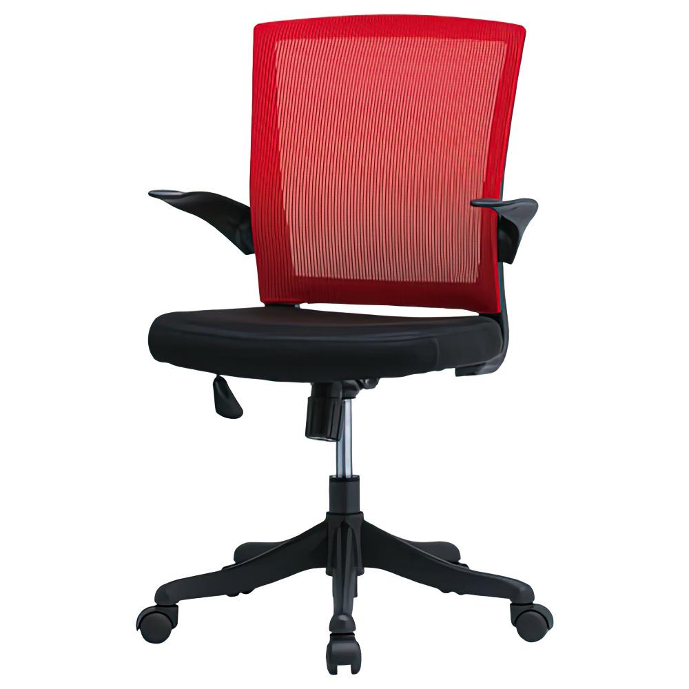 フィールメッシュ ミドルバックタイプ W600×D560×H900-985mm レッド オフィスチェア 事務椅子 肘付き メッシュチェア オフィス家具
