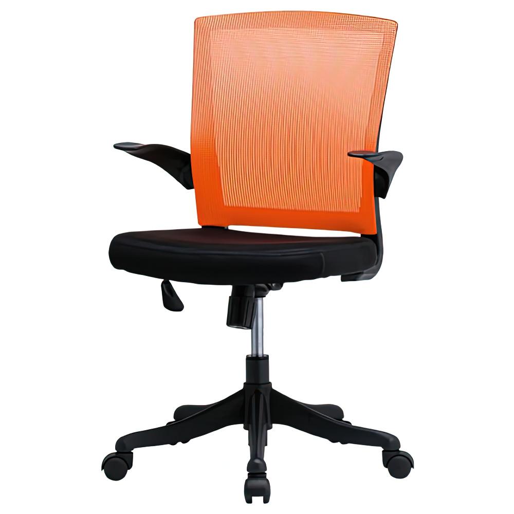 フィールメッシュ ミドルバックタイプ W600×D560×H900-985mm オレンジ オフィスチェア 事務椅子 肘付き メッシュチェア オフィス家具
