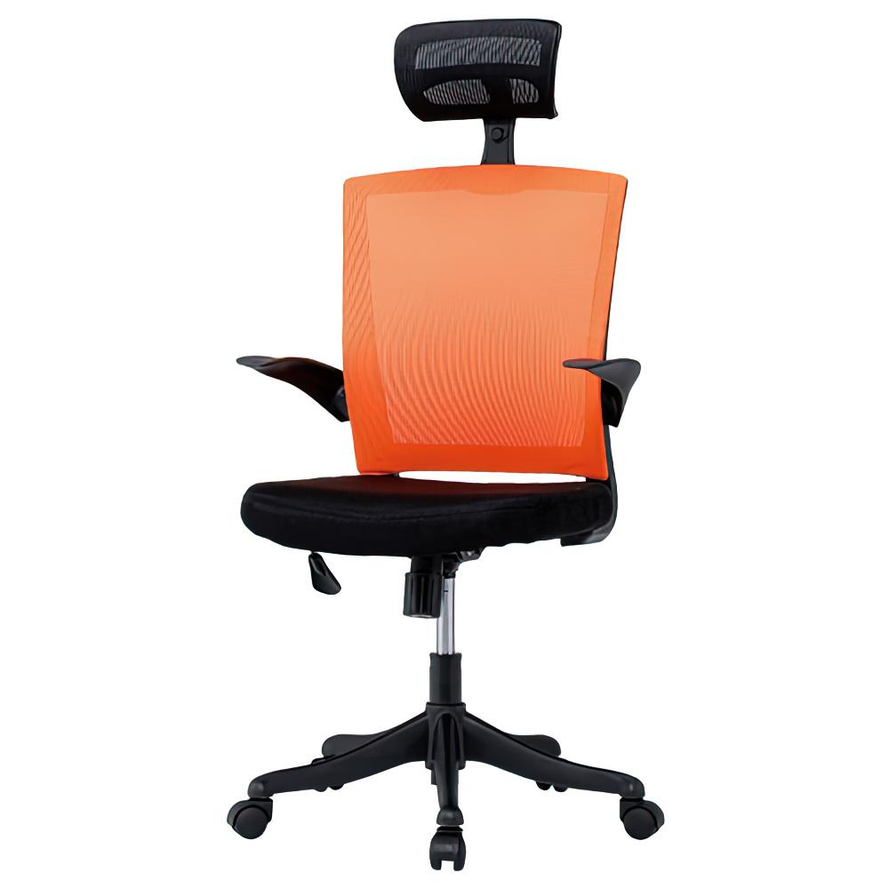 フィールメッシュ ハイバックタイプ W600×D610×H1110-1235mm  オレンジ オフィスチェア 事務椅子 肘付き ヘッドレスト付き オフィス家具