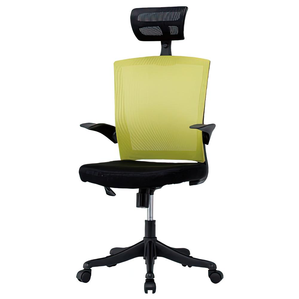 フィールメッシュ ハイバックタイプ W600×D610×H1110-1235mm  キミドリ オフィスチェア 事務椅子 肘付き ヘッドレスト付き オフィス家具