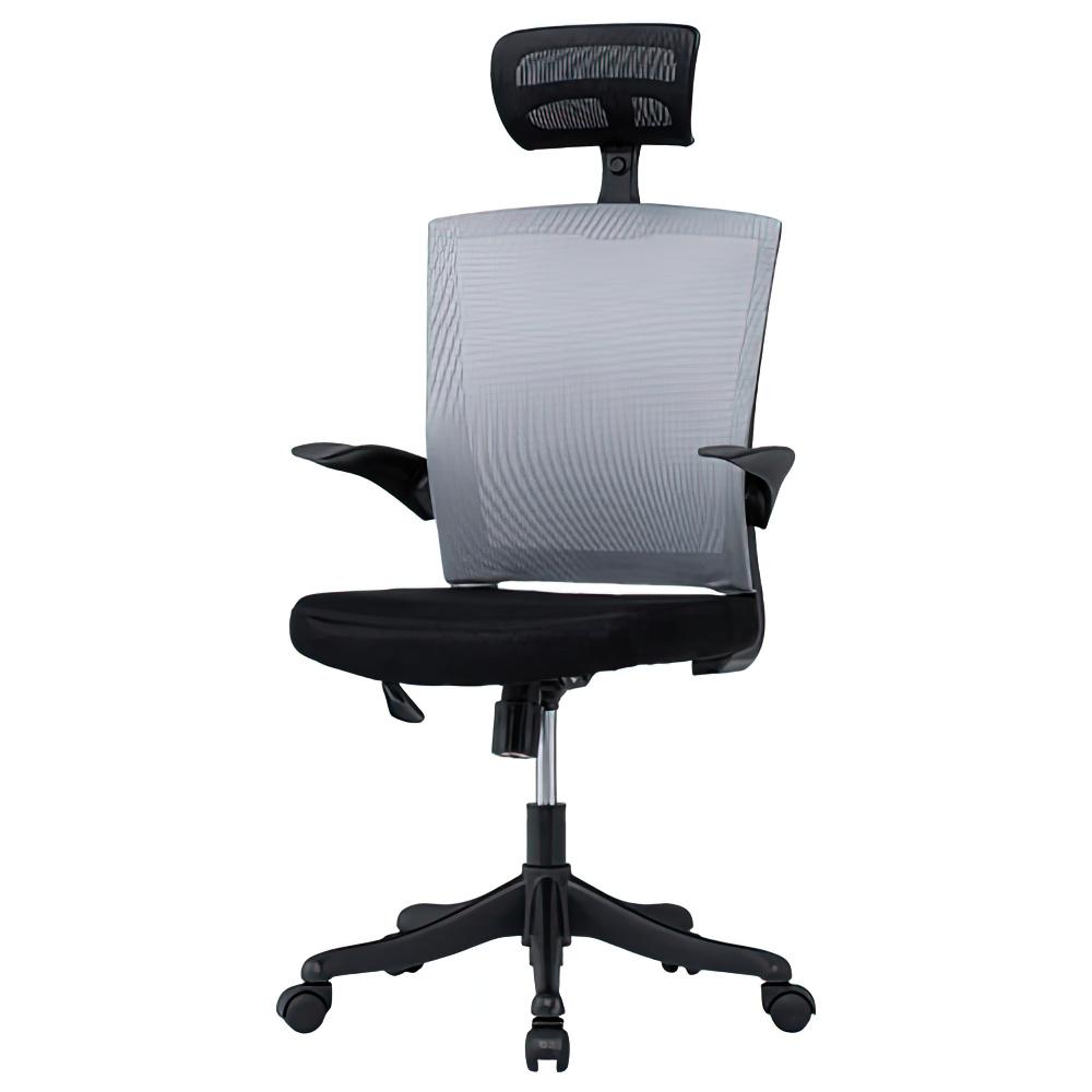 フィールメッシュ ハイバックタイプ W600×D610×H1110-1235mm  グレー オフィスチェア 事務椅子 肘付き ヘッドレスト付き オフィス家具
