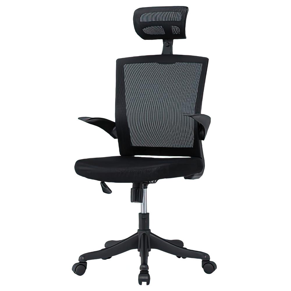 フィールメッシュ ハイバックタイプ W600×D610×H1110-1235mm  ブラック オフィスチェア 事務椅子 肘付き ヘッドレスト付き オフィス家具