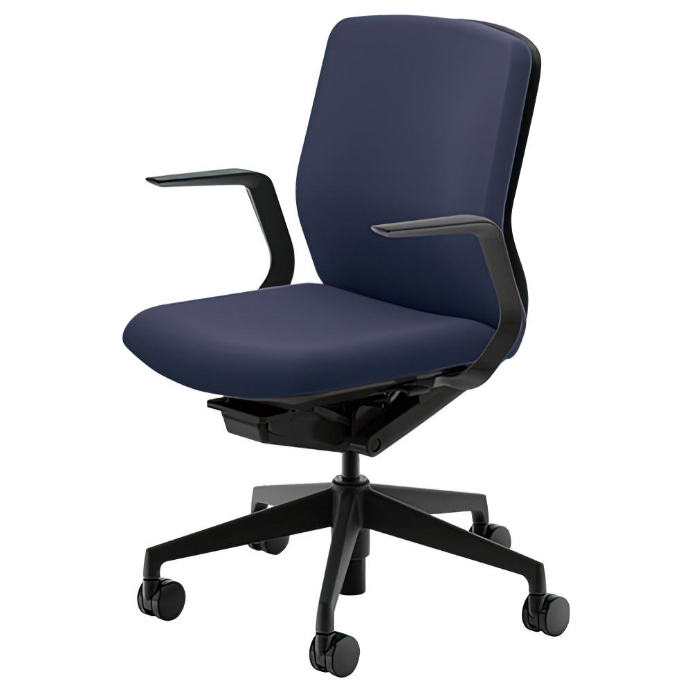 クレネチェア W647×D591×H857-957 オフィスチェア 事務椅子 肘付き ダークブルー デスクチェア OAチェア 内田洋行 オフィス家具