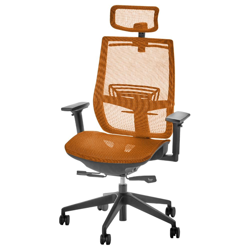 オフィス用レオ メッシュチェア1900 W657 D645-700 H995-1085  オレンジ