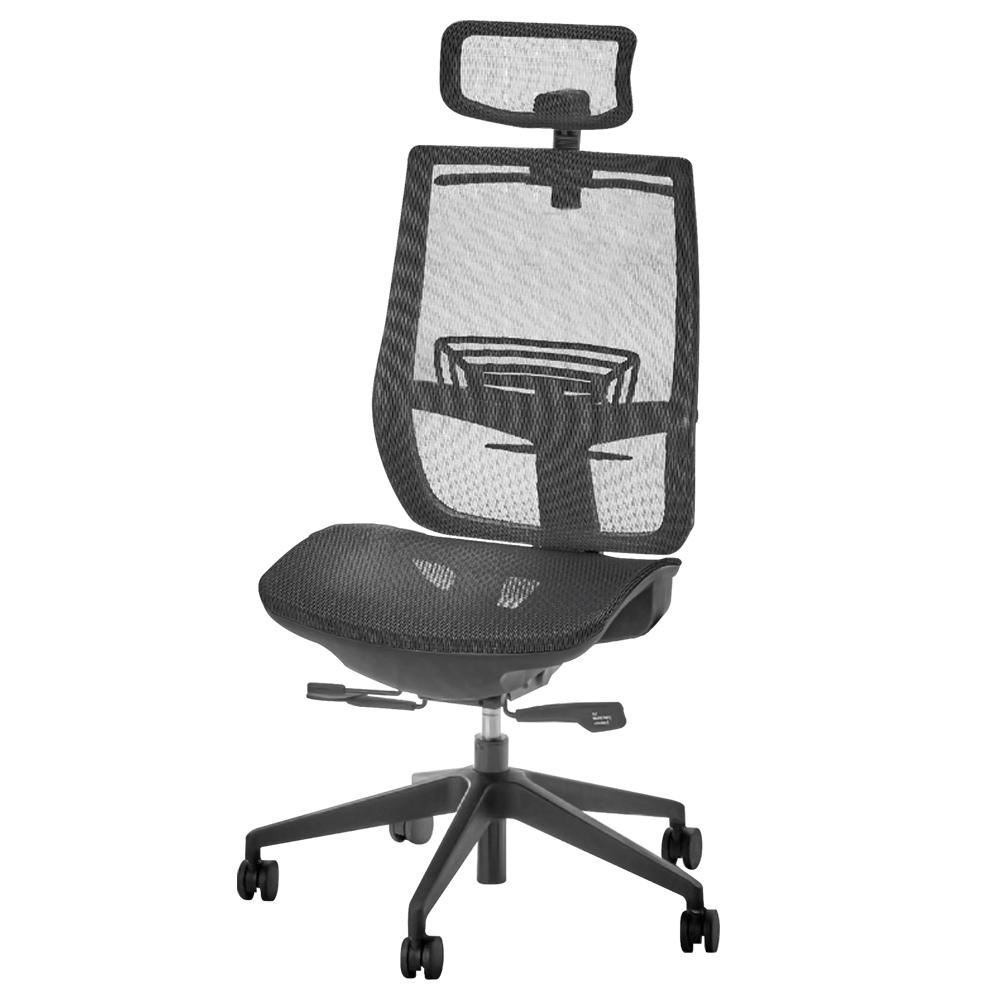 オフィス用レオ メッシュチェア1900 W657 D645-700 H995-1085  ブラック