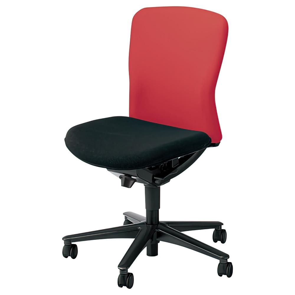 ルディオチェア W670×D536×H819-923mm オフィスチェア 事務椅子 肘無し クリアレッド デスクチェア OAチェア 内田洋行 オフィス家具