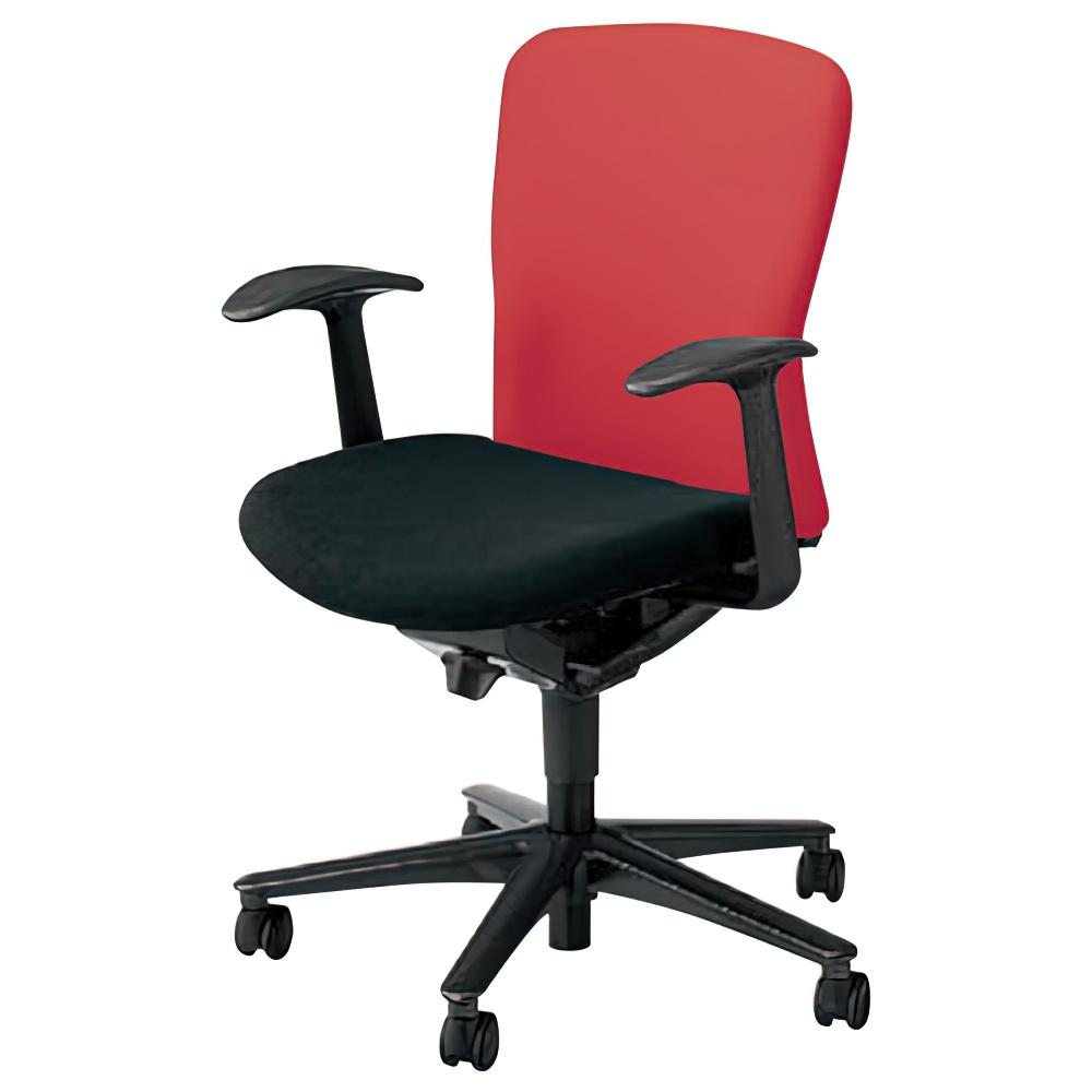 ルディオチェア W670×D536×H819-923mm オフィスチェア 事務椅子 肘付き クリアレッド デスクチェア OAチェア 内田洋行 オフィス家具