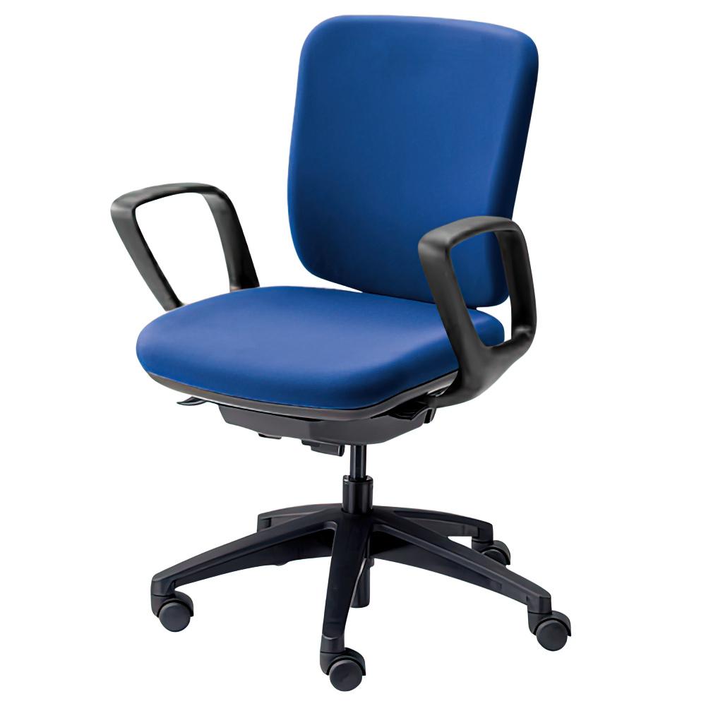 エムアイチェア W610×D550×H845-955mm オフィスチェア 事務椅子 肘付き ブルー デスクチェア OAチェア 内田洋行 オフィス家具
