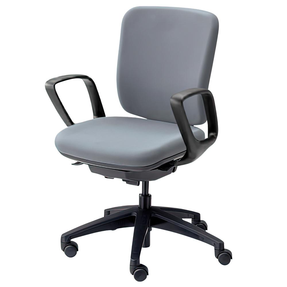 エムアイチェア W610×D550×H845-955mm オフィスチェア 事務椅子 肘付き グレイ デスクチェア OAチェア 内田洋行 オフィス家具