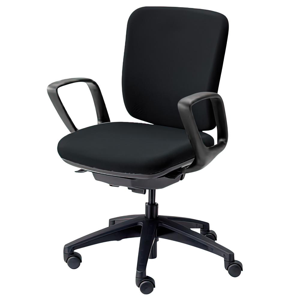 エムアイチェア W610×D550×H845-955mm オフィスチェア 事務椅子 肘付き ブラック デスクチェア OAチェア 内田洋行 オフィス家具