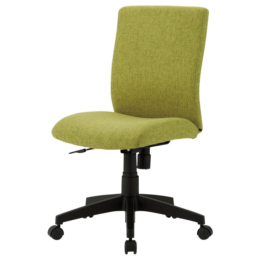 ファブリー 肘無し W415×D540×H775-885mm グリーン デスクチェア OAチェア オフィスチェア 事務椅子 オフィス家具