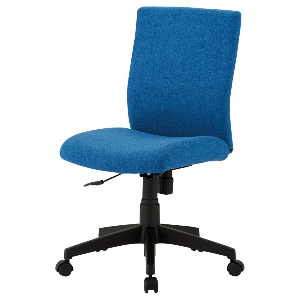 ファブリー 肘無し W415×D540×H775-885mm ブルー デスクチェア OAチェア オフィスチェア 事務椅子 オフィス家具