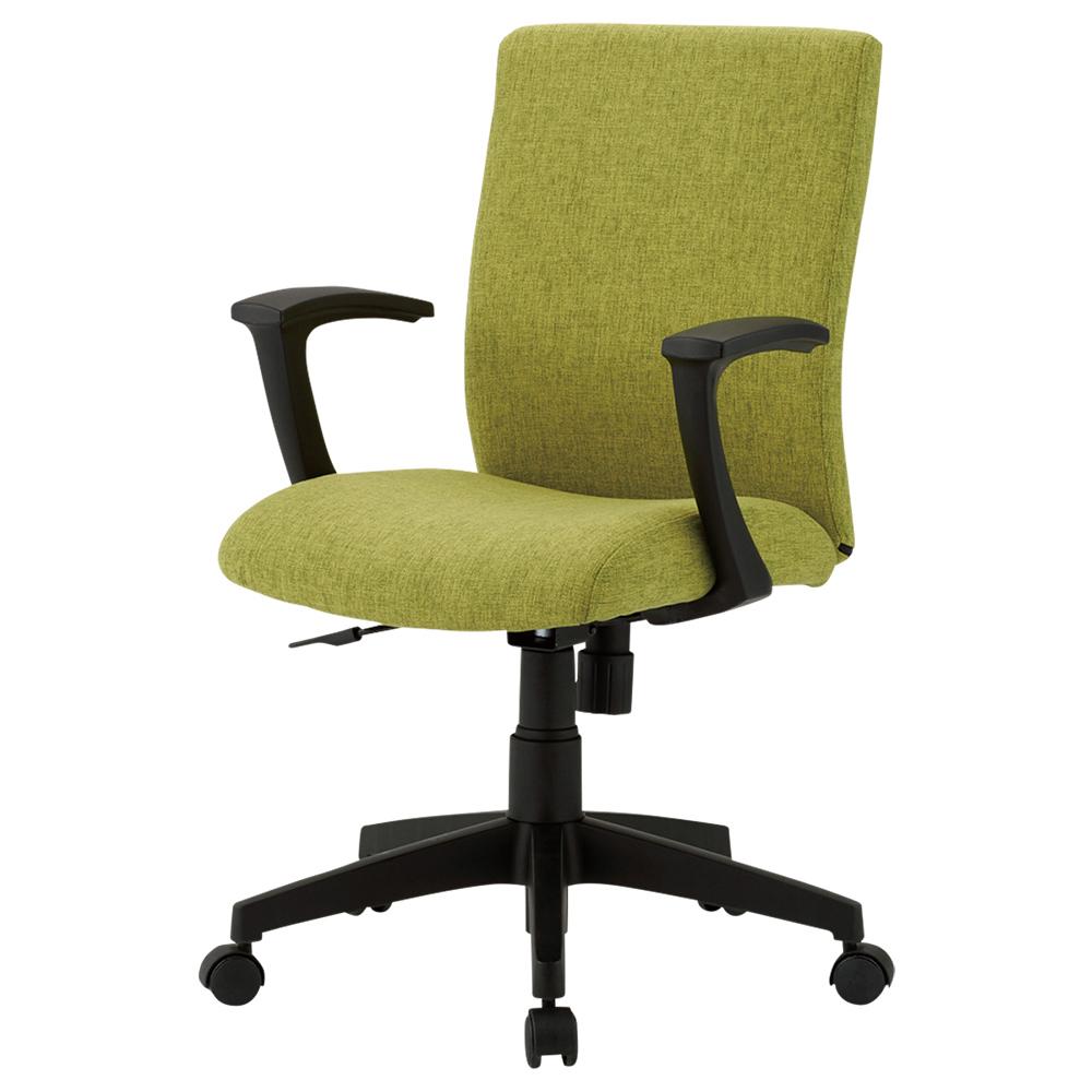 ファブリー 肘付き W585×D550×H880-970mm グリーン デスクチェア OAチェア オフィスチェア 事務椅子 オフィス家具