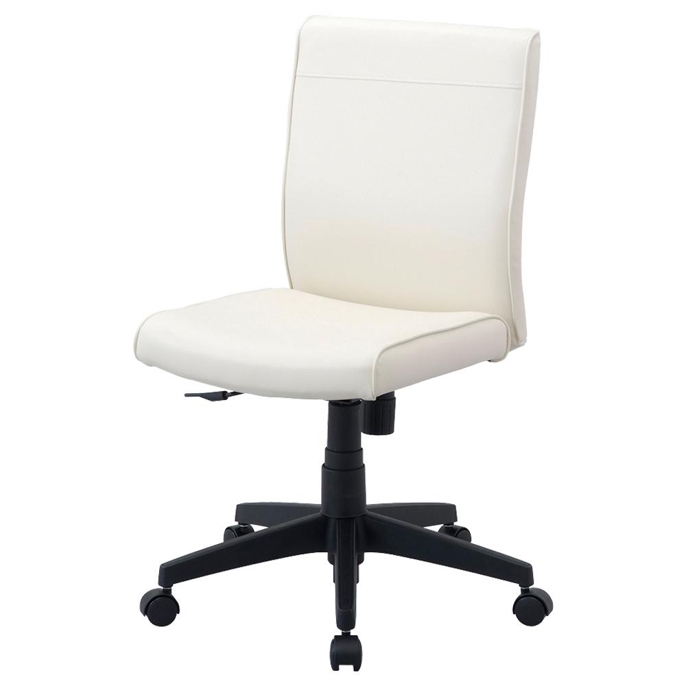 ワークレザー 肘無し W435×D570×H870-960mm アイボリー デスクチェア OAチェア オフィスチェア 事務椅子 オフィス家具