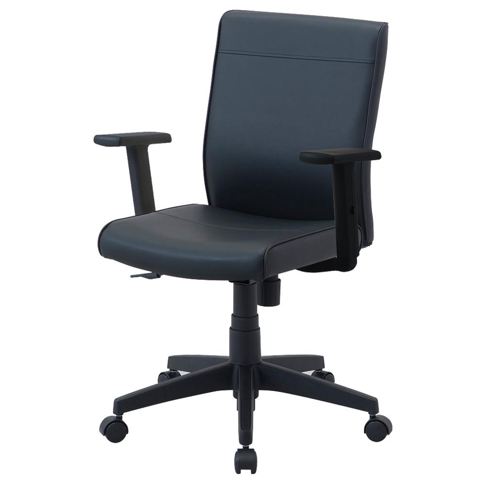 ワークレザー 肘付き W615×D570×H870-960mm ブラック デスクチェア OAチェア オフィスチェア 事務椅子 オフィス家具