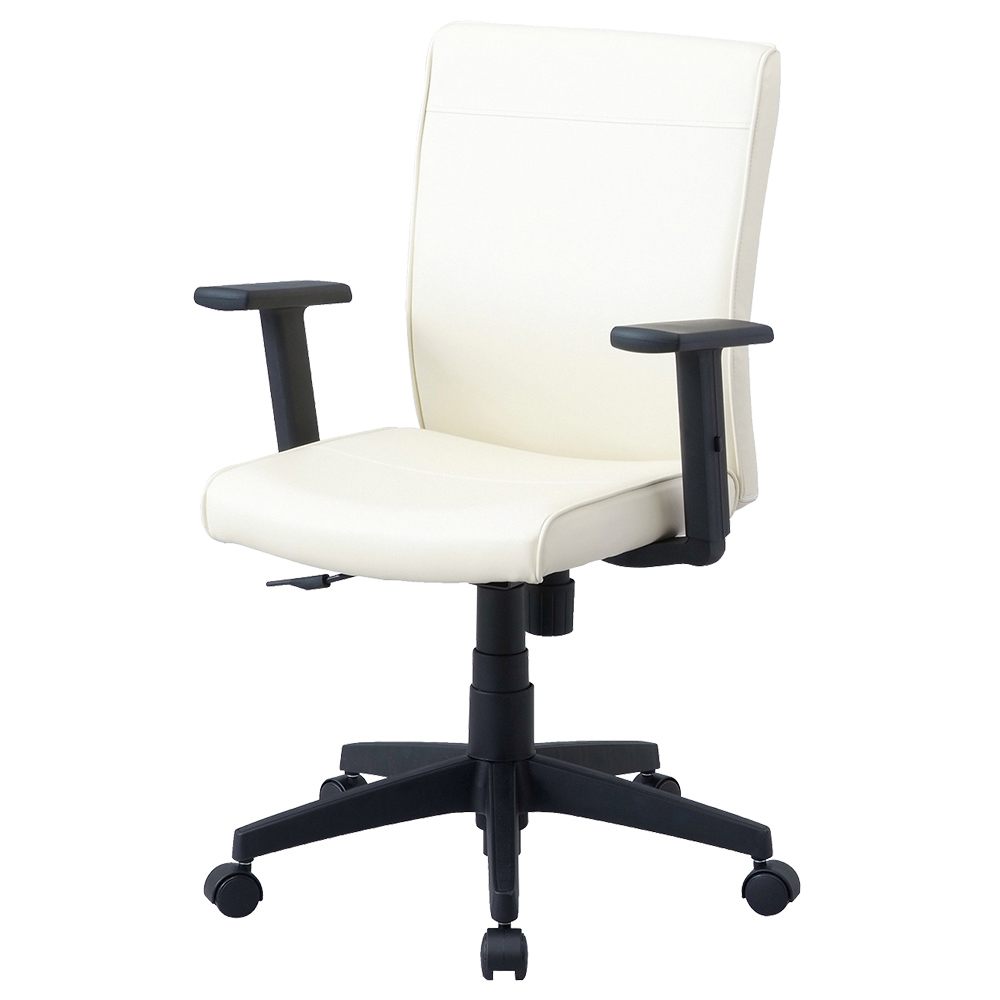 ワークレザー 肘付き W615×D570×H870-960mm アイボリー デスクチェア OAチェア オフィスチェア 事務椅子 オフィス家具