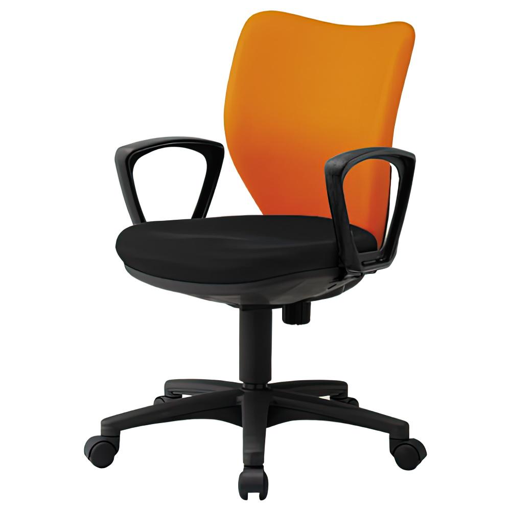 ニューオフィット W450×D560×H830-930mm 肘付き オレンジ オフィスチェア 事務椅子 デスクチェア OAチェア オフィス家具