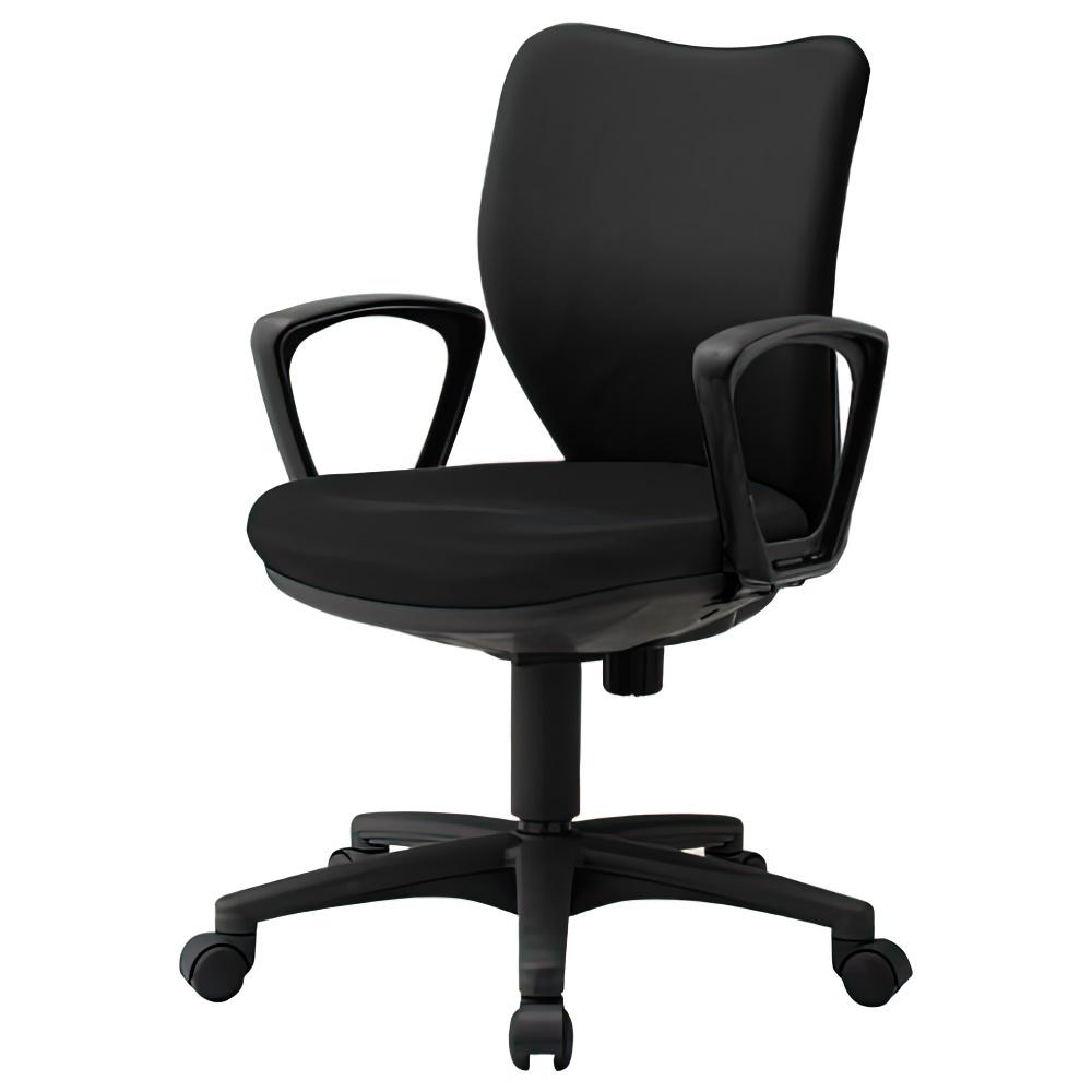 ニューオフィット W450×D560×H830-930mm 肘付き ブラック オフィスチェア 事務椅子 デスクチェア OAチェア オフィス家具