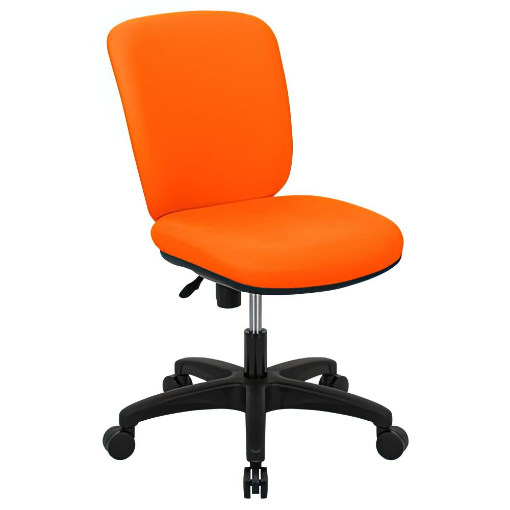 シャーク 撥水ファブリックタイプ W470×D460×H815-920mm オフィスチェア 事務椅子 肘無し オレンジ デスクチェア OAチェア オフィス家具