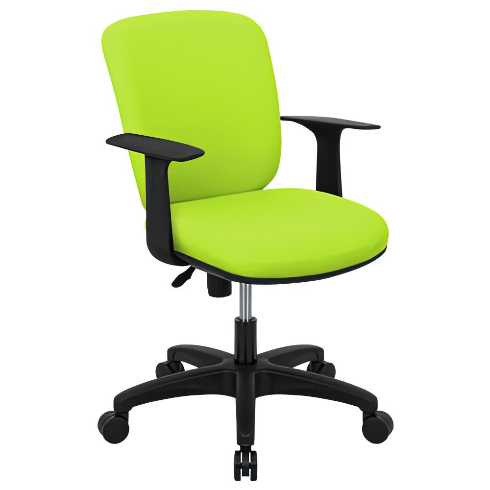 シャーク 撥水ファブリックタイプ W590×D460×H815-920mm オフィスチェア 事務椅子 肘付き グリーン デスクチェア OAチェア オフィス家具