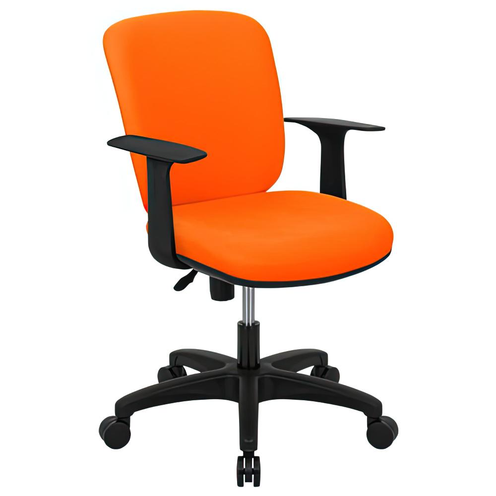 シャーク 撥水ファブリックタイプ W590×D460×H815-920mm オフィスチェア 事務椅子 肘付き オレンジ デスクチェア OAチェア オフィス家具
