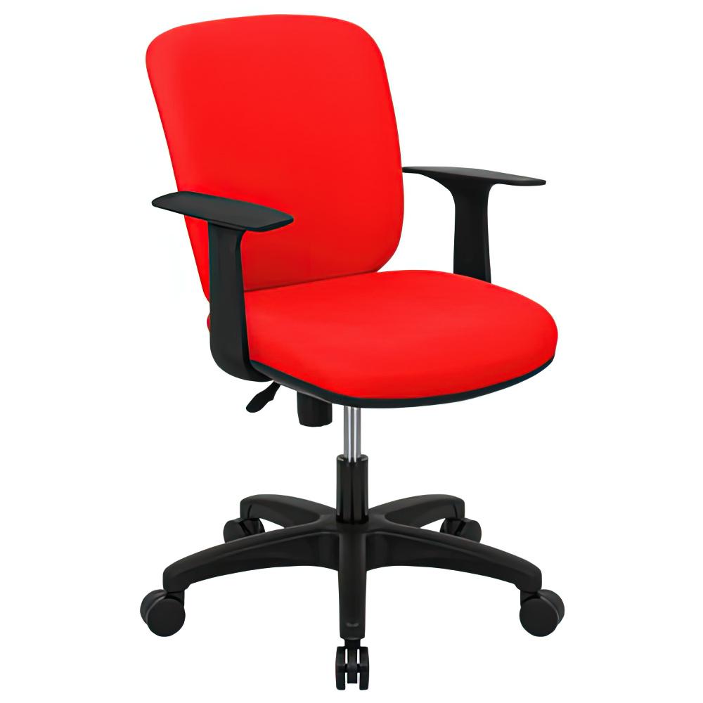 シャーク 撥水ファブリックタイプ W590×D460×H815-920mm オフィスチェア 事務椅子 肘付き レッド デスクチェア OAチェア オフィス家具