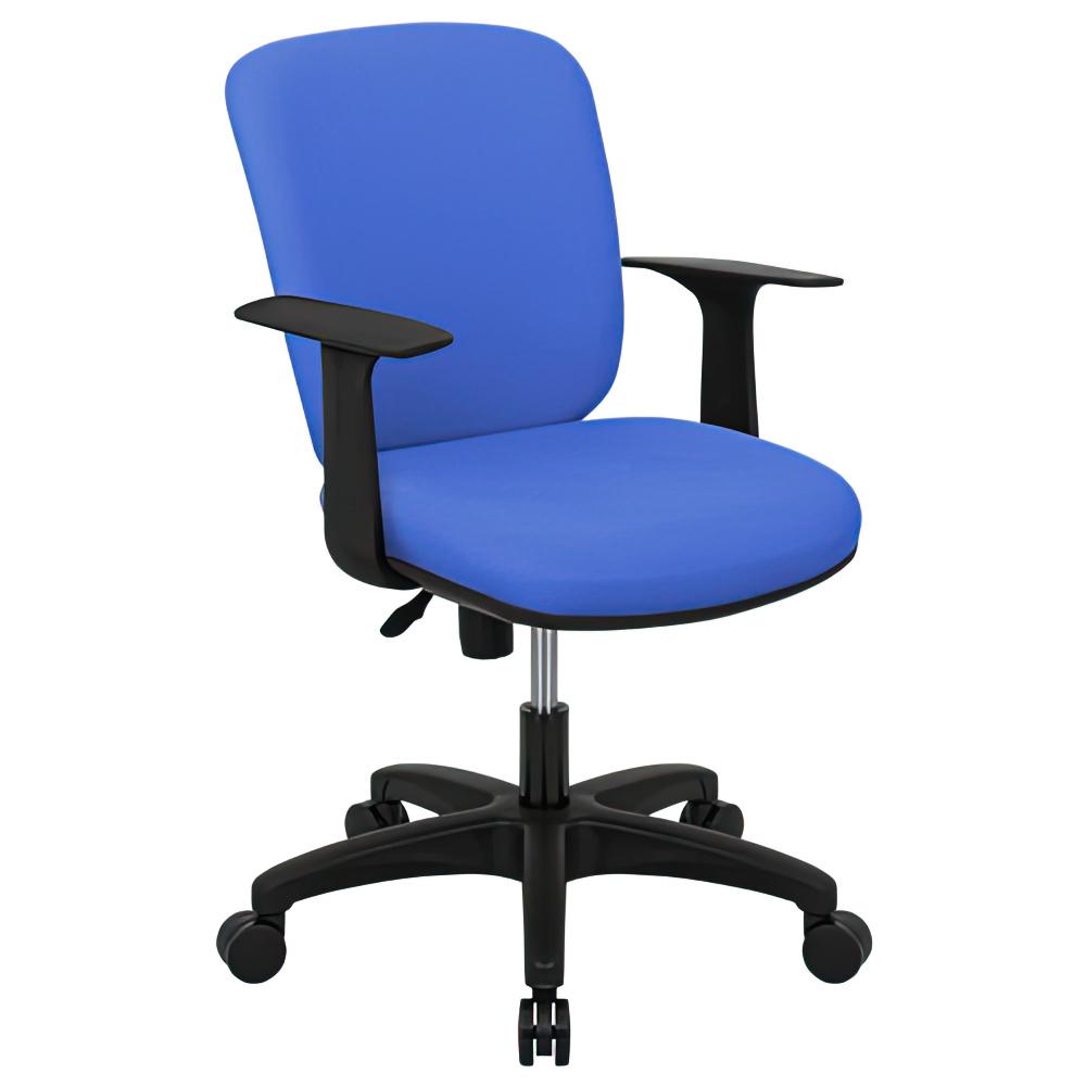 シャーク 撥水ファブリックタイプ W590×D460×H815-920mm オフィスチェア 事務椅子 肘付き ブルー デスクチェア OAチェア オフィス家具