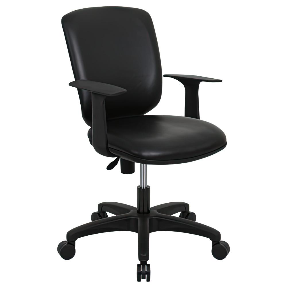 シャーク 抗菌レザータイプ W590×D450×H815-920mm オフィスチェア 事務椅子 肘付き ブラック デスクチェア OAチェア オフィス家具