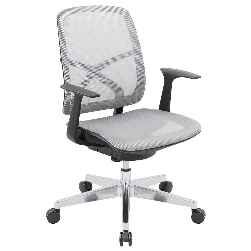 シンクスII W660×D650×H885-975mm オフィスチェア 事務椅子 肘付き ホワイト デスクチェア OAチェア メッシュチェア オフィス家具