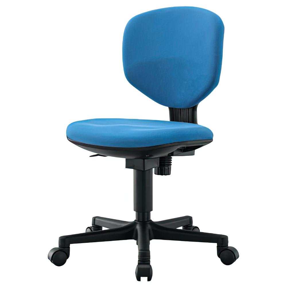 ショートフィット W430×D520×H805-905mm 肘無し ブルー オフィスチェア 事務椅子 コンパクトデスクチェア OAチェア オフィス家具