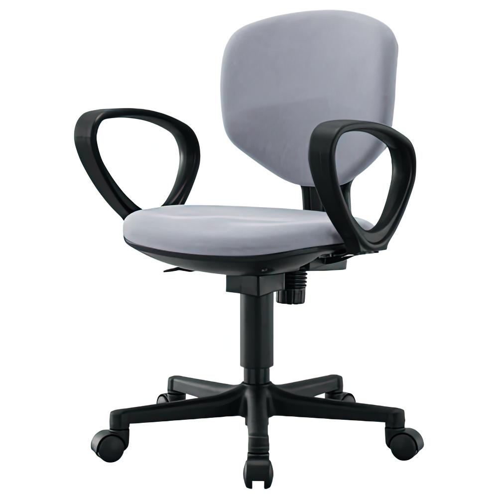 ショートフィット W430×D520×H805-905mm 肘付き グレー オフィスチェア 事務椅子 コンパクトデスクチェア OAチェア オフィス家具