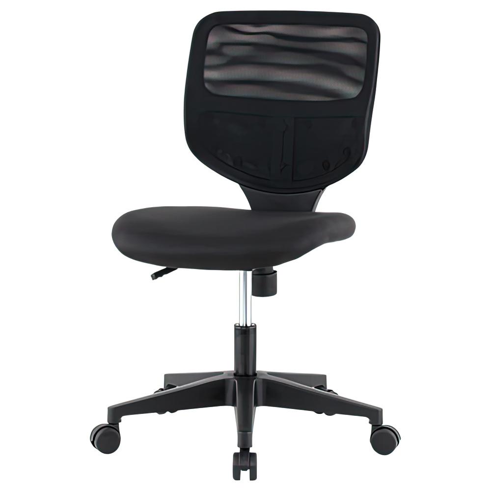 ティラーレ W465×D560×H795-905mm オフィスチェア 事務椅子 肘無し 背:黒×座:黒 デスクチェア OAチェア オフィス家具