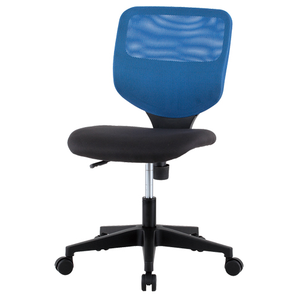 ティラーレ W465×D560×H795-905mm オフィスチェア 事務椅子 肘無し 背:青×座:黒 デスクチェア OAチェア オフィス家具