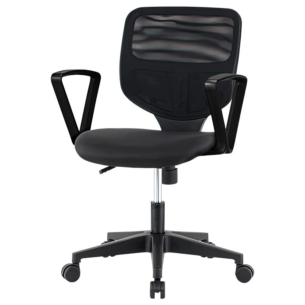 ティラーレ W575×D560×H795-905mm オフィスチェア 事務椅子 肘付き 背:黒×座:黒 デスクチェア OAチェア オフィス家具