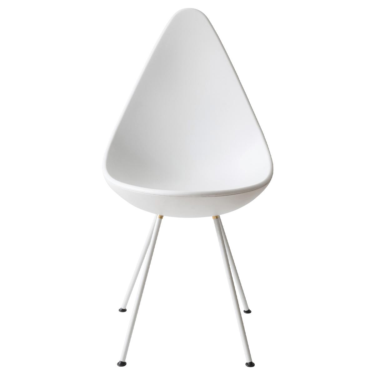 オフィス用ドロップ型デザインチェア W450 D560 H870 ホワイト チェア ミーティングチェア 4本足