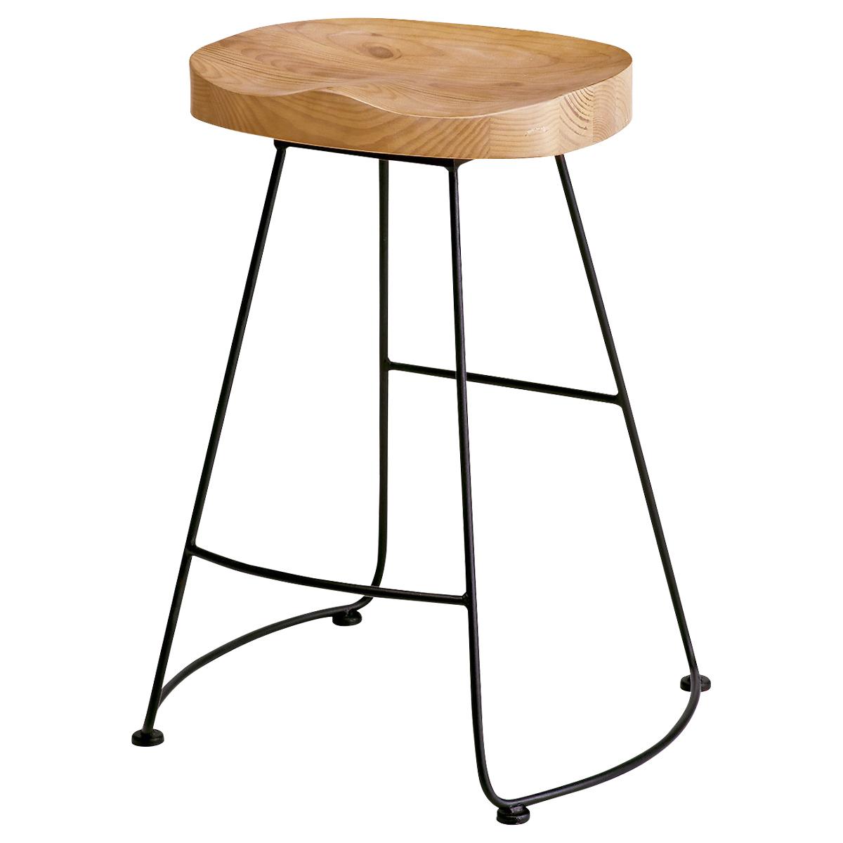 メニー バーチェア W520 D440 H680 その他木目 チェア ミーティングチェア ハイチェア 昇降なし 椅子 バースツール カフェ フィット オフィス スチール ウッド