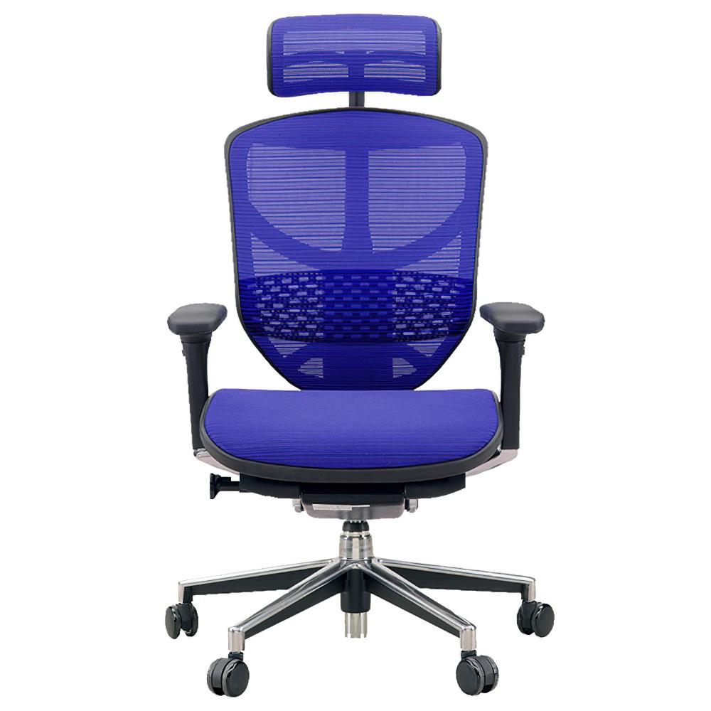 エンジョイ ハイタイプ W655×D660×H1110-1310mm エルゴノミクスチェア ファブリック:ブルー オフィス家具