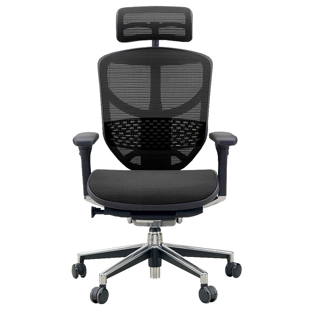 エンジョイ ハイタイプ W655×D660×H1110-1310mm エルゴノミクスチェア ファブリック:ブラック オフィス家具