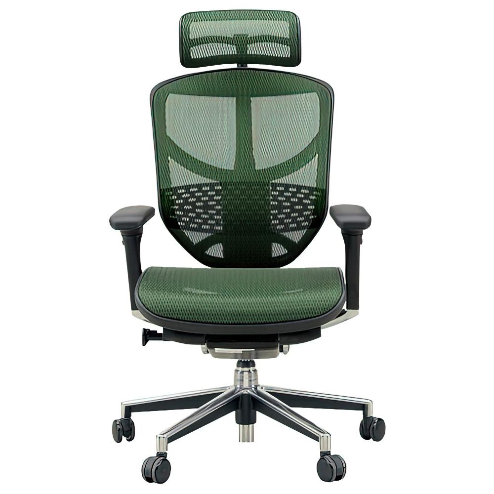 エンジョイ ハイタイプ W655×D660×H1110-1310mm エルゴノミクスチェア メッシュ:グリーン オフィス家具