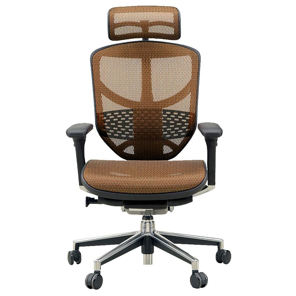 エンジョイ ハイタイプ W655×D660×H1110-1310mm エルゴノミクスチェア メッシュ:オレンジ オフィス家具