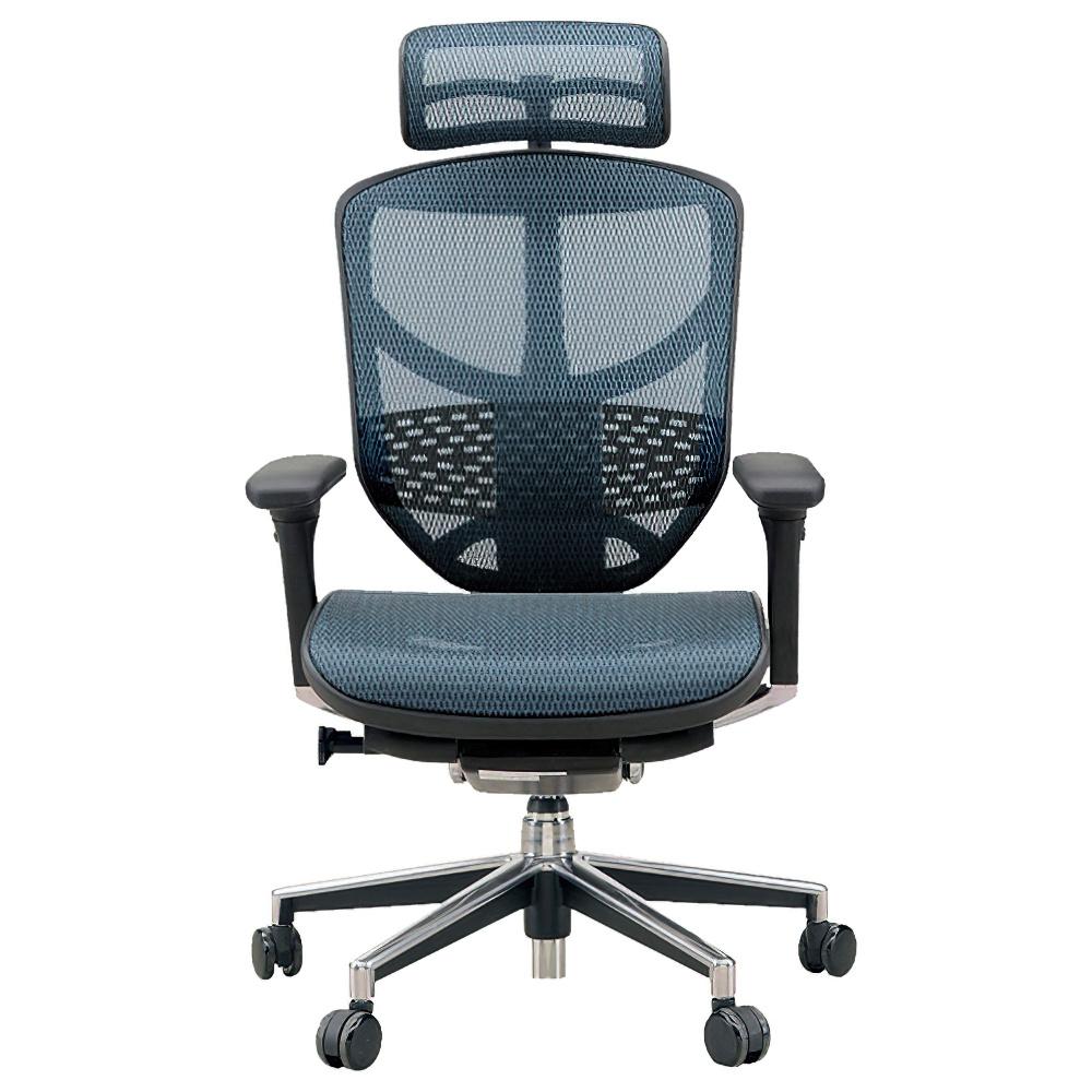 エンジョイ ハイタイプ W655×D660×H1110-1310mm エルゴノミクスチェア メッシュ:ブルー オフィス家具