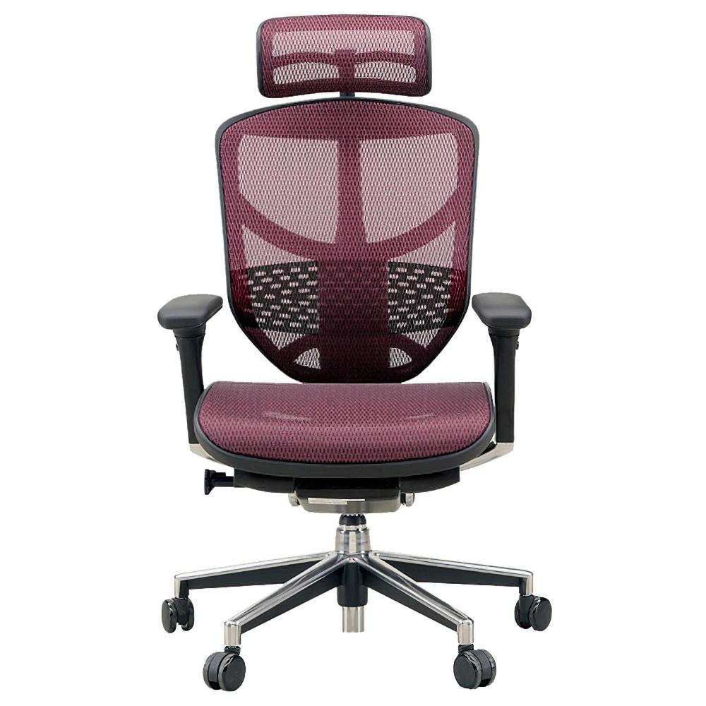 エンジョイ ハイタイプ W655×D660×H1110-1310mm エルゴノミクスチェア メッシュ:レッド オフィス家具