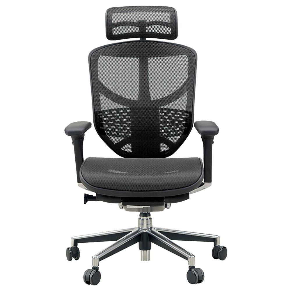 エンジョイ ハイタイプ W655×D660×H1110-1310mm エルゴノミクスチェア メッシュ:ブラック オフィス家具