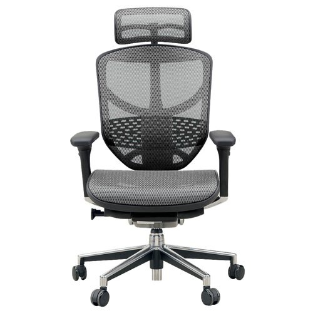 エンジョイ ハイタイプ W655×D660×H1110-1310mm エルゴノミクスチェア メッシュ:グレー オフィス家具