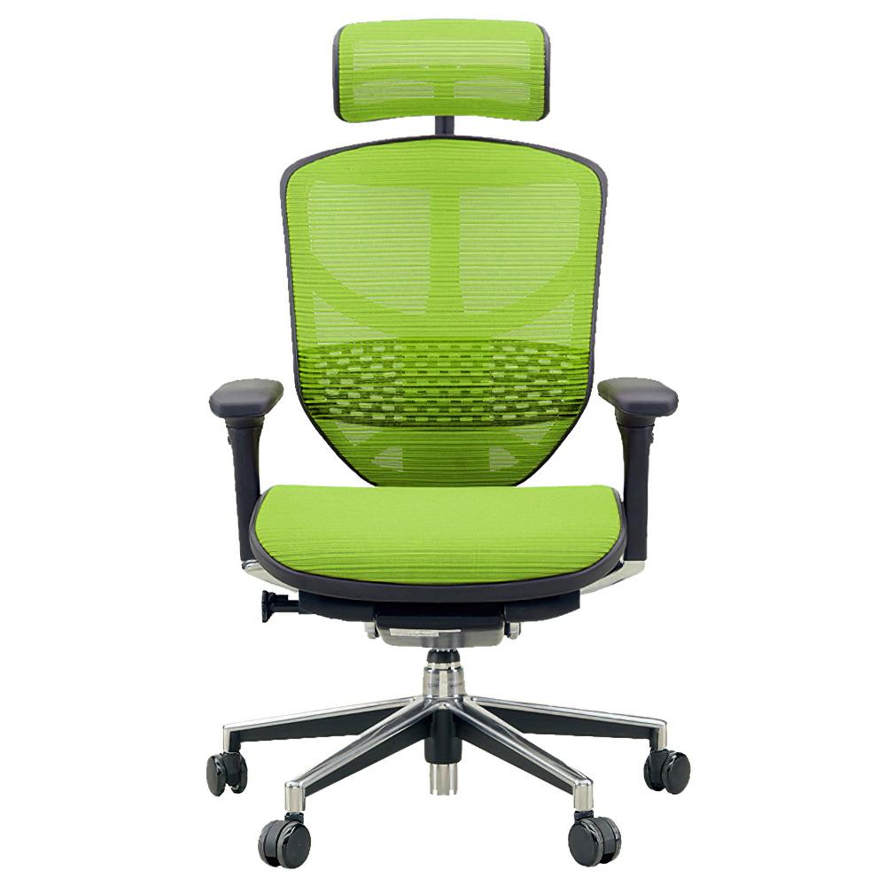 エンジョイ ハイタイプ W655×D660×H1110-1310mm エルゴノミクスチェア ファブリック:グリーン オフィス家具