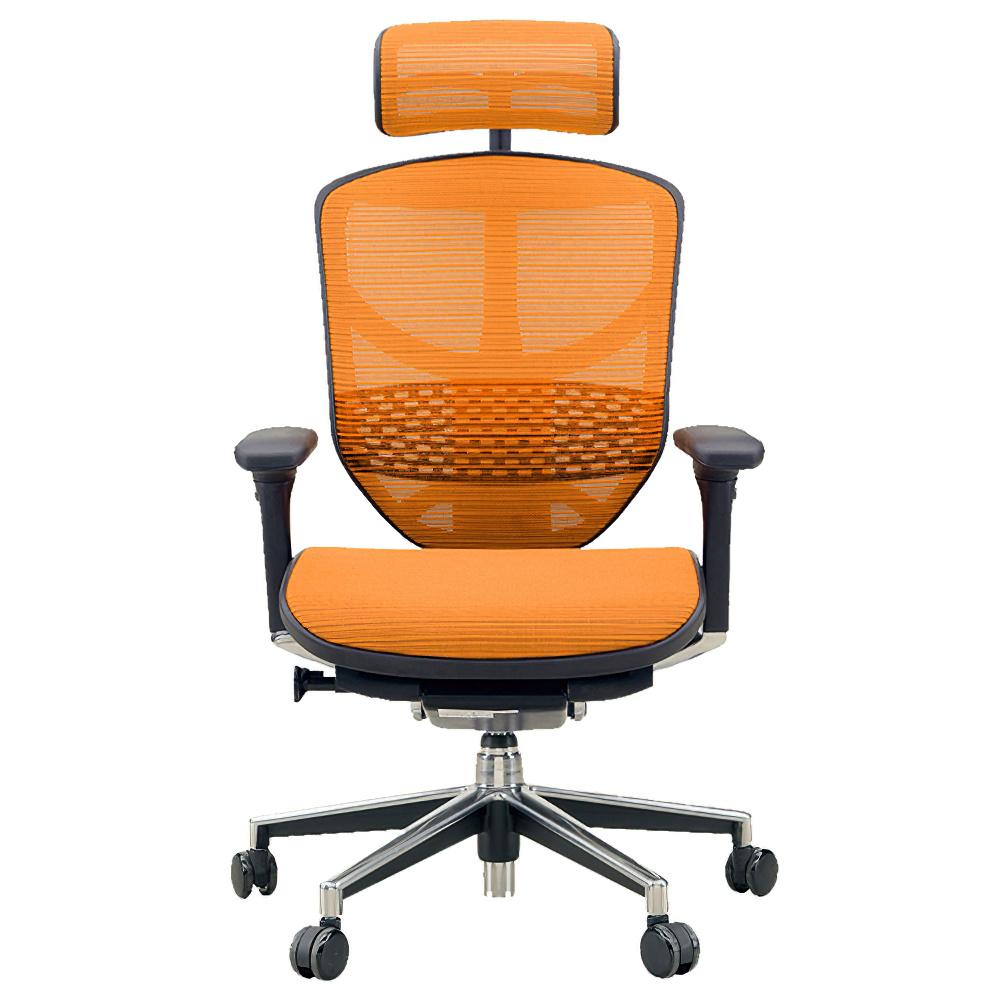 エンジョイ ハイタイプ W655×D660×H1110-1310mm エルゴノミクスチェア ファブリック:オレンジ オフィス家具