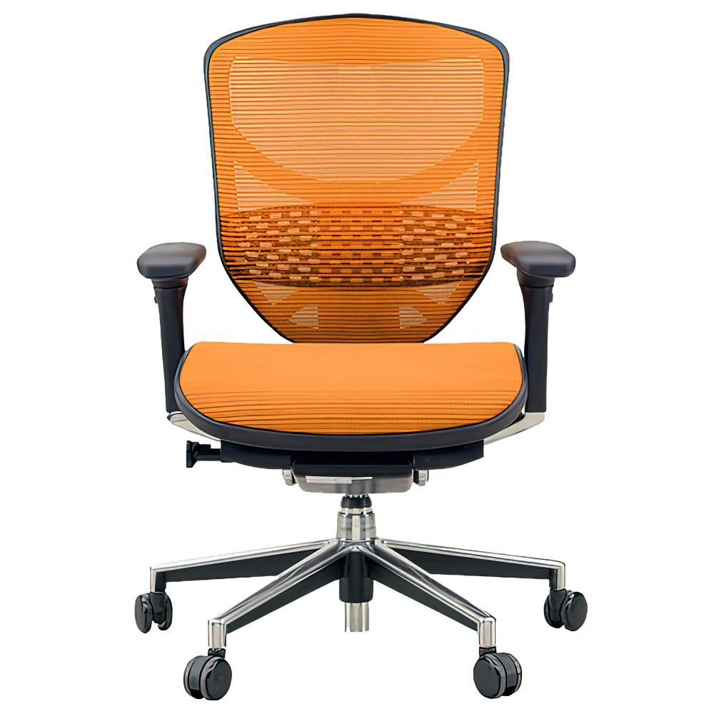 エンジョイ ロータイプ W655×D660×H960-1110mm エルゴノミクスチェア ファブリック:オレンジ オフィス家具