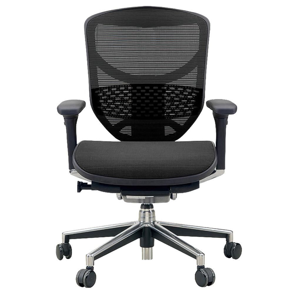 エンジョイ ロータイプ W655×D660×H960-1110mm エルゴノミクスチェア ファブリック:ブラック オフィス家具