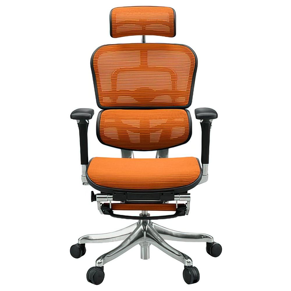 エルゴヒューマン プロ オットマン W665×D665×H1110-1250mm エルゴノミクスチェア ファブリック:オレンジ オフィス家具