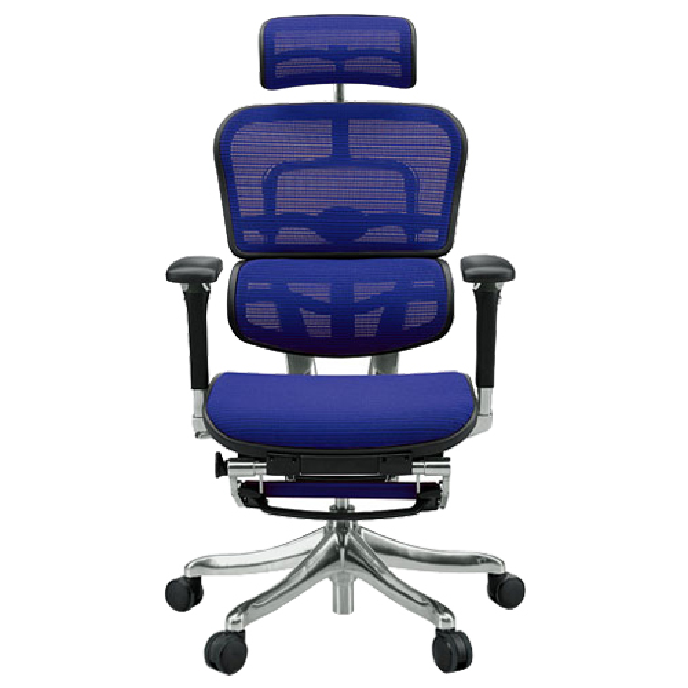 エルゴヒューマン プロ オットマン W665×D665×H1110-1250mm エルゴノミクスチェア ファブリック:ブルー オフィス家具